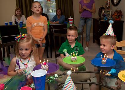 Cory, Ella, Kelen 4th Birthday Party