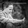 Granddaughter & Phone at Exmoor Zoo in Mono.