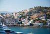 Kusadasi as seen from the ship docked in the Kusadasi Harbor. Kusadasi is the port of call for visiting the nearby ancient city of Ephesus.  More than 600 cruise ships come here every year.