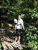 Brian and Cayden on bamboo bridge leading to the falls.