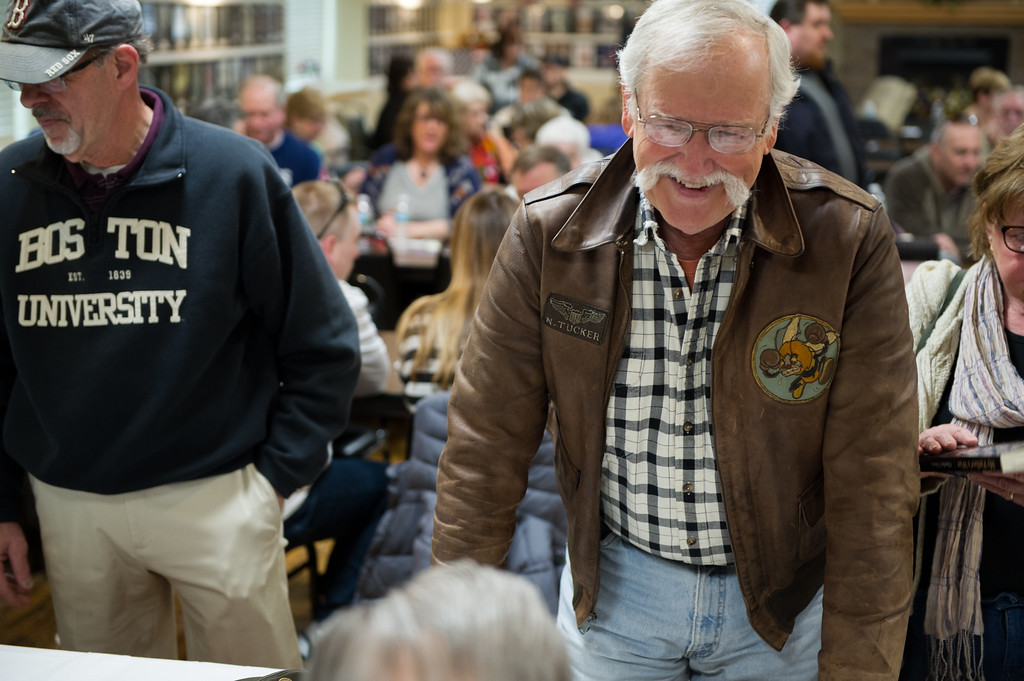 """. 03/26/17 LEOMINSTER with story-- Fans of the book \""""My Father\'s War\"""" come to get a copy  signed by featured World War II veterans during Sundays book signing at the Veterans Center in Leominster on March 26, 2017. (Sentinel & Enterprise photo/Jeff Porter)"""