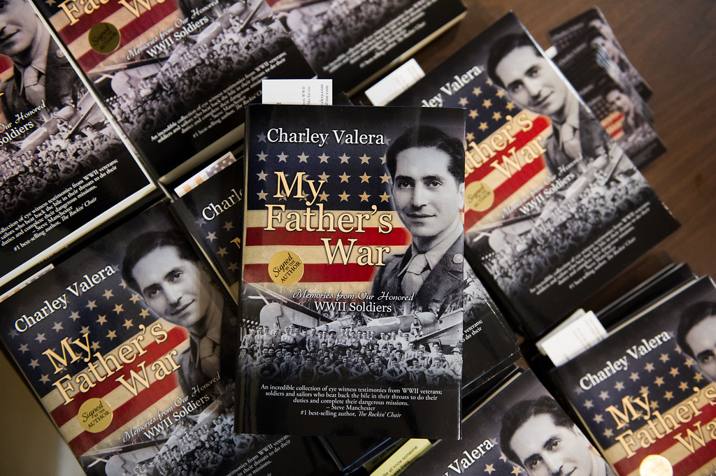 """. 03/26/17 LEOMINSTER with story-- Copies of \""""My Father\'s War\"""" for sale during Sundays book signing at the Veterans Center in Leominster on March 26, 2017. (Sentinel & Enterprise photo/Jeff Porter)"""