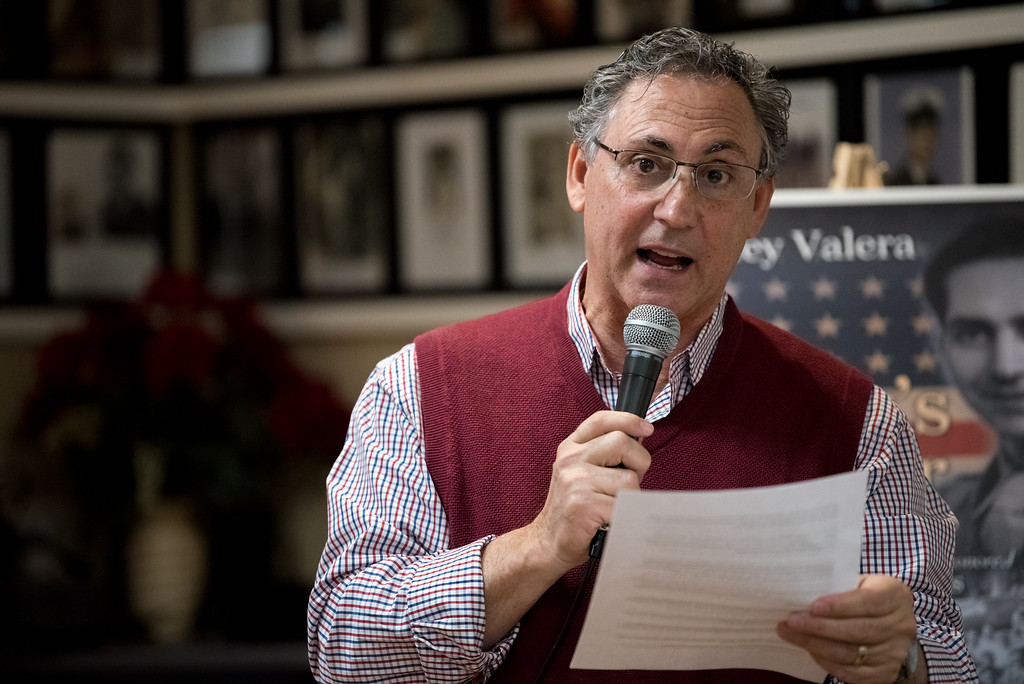 """. 03/26/17 LEOMINSTER with story-- Local author Charley Valera introduces the World War II veterans present at Sundays book signing of \""""My Father\'s War\"""" at the Veterans Center in Leominster on March 26, 2017. (Sentinel & Enterprise photo/Jeff Porter)"""