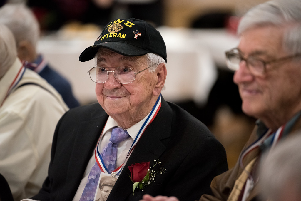 . 03/26/17 LEOMINSTER with story-- Fernand E. Frechette smiles toward the crowd during Sundays book signing at the Veterans Center in Leominster on March 26, 2017. (Sentinel & Enterprise photo/Jeff Porter)