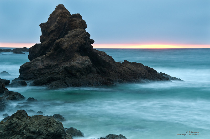 Long exposure to soften waves coming in at sunset near Casper, CA