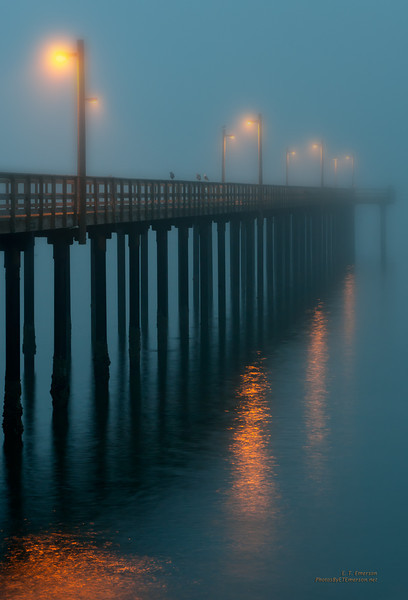 Fog-Covered Pier in Crescent City CA