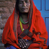 Tamang woman in red, Kathmandu, Nepal