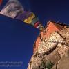 Buddhist Monastery and Prayer flags, Ladakh, India