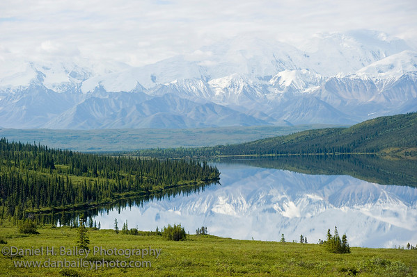 The Alaska Range relfecting in Wonder Lake, Denali National Park, Alaska
