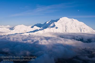 Aerial photo of Denali and the moon. Denali National Park, Alaska