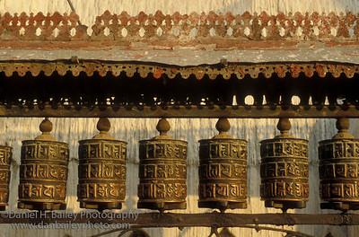 Buddhist prayer wheels, Kathmandu, Nepal