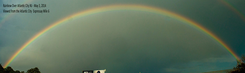 A Double Rainbow showed up over Atlantic City New Jersey late in the afternoon of May 3; 2014.<br /> <br /> I couldn't get to a 'Sweet Vantage Point' before it dissipated; <br /> <br /> This is a merge of 10 separate frames shot with my Sony Alpha 700, from the Atlantic City Expressway eastbound near mile 6.