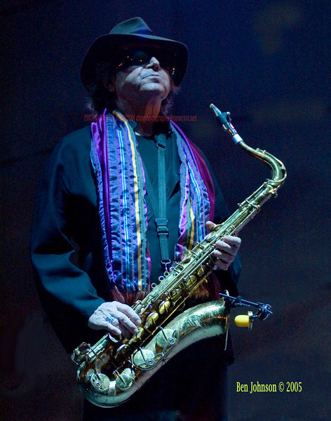 Gato Barbieri photo - performing in Camden, New Jersey at Wiggins Waterfront Park. Image taken in virtually no light because of Gato's macular degeneration condition which causes him extreme pain in bright light; Image taken at 1/60 second at f2.8 handheld