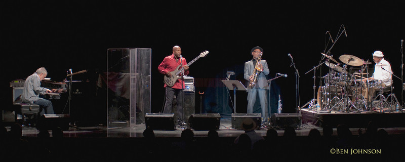 A unique and historic photo of of the Jazz band Fourplay appearing, at The Keswick Theater on April 11, 2010. Bob James - piano, Nathan East - Bass. Harvey Mason - Drums, and special guest Kirk Whalum - Saxophone. The first time Fourplay did not have a guitarist, and the first time a Saxophonist was used in the configuration.