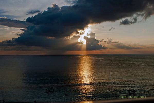 Sunset photos Viewed From The Marriott Grand Cayman Beach Resort - May 2011