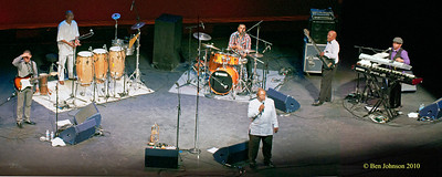 """Hugh Masekela Band Photo - Performing at TheZellerbach Theater - The Annenburg Center for The Arts on  The University of Pennsylvania Campus in Philadelphia on October 8, 2010.<br /> <br /> FRANCIS MANNEH FUSTER (PERCUSSION). ABEDNIGO """"FANA"""" ZULU (BASS), RANDALL SKIPPERS (KEYBOARDS), LEE-ROY SAULS (DRUMS),  CAMERON JOHN WARD (GUITAR),"""