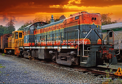 Old Orange and Black Freight Train Engine 13x19 signed print