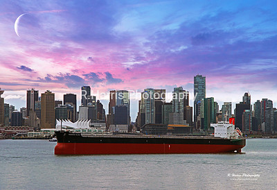 Freighter in Vancouver 13x19 signed print