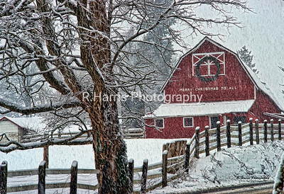 Old Red Barn in the Snow13x19 print