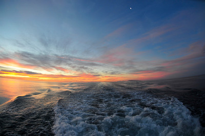 Sunrise off the stern of the Searcher boat.  Near Isla San Jose