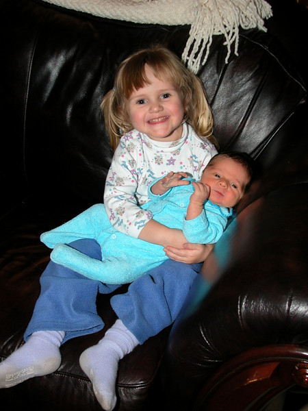 Abbey & her new little brother. November 2003