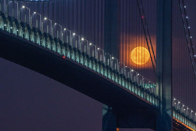 Supermoon setting behind Verrazzano Bridge 7-27-2018