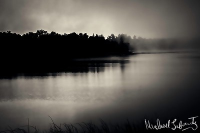 sunrise on  the river bw