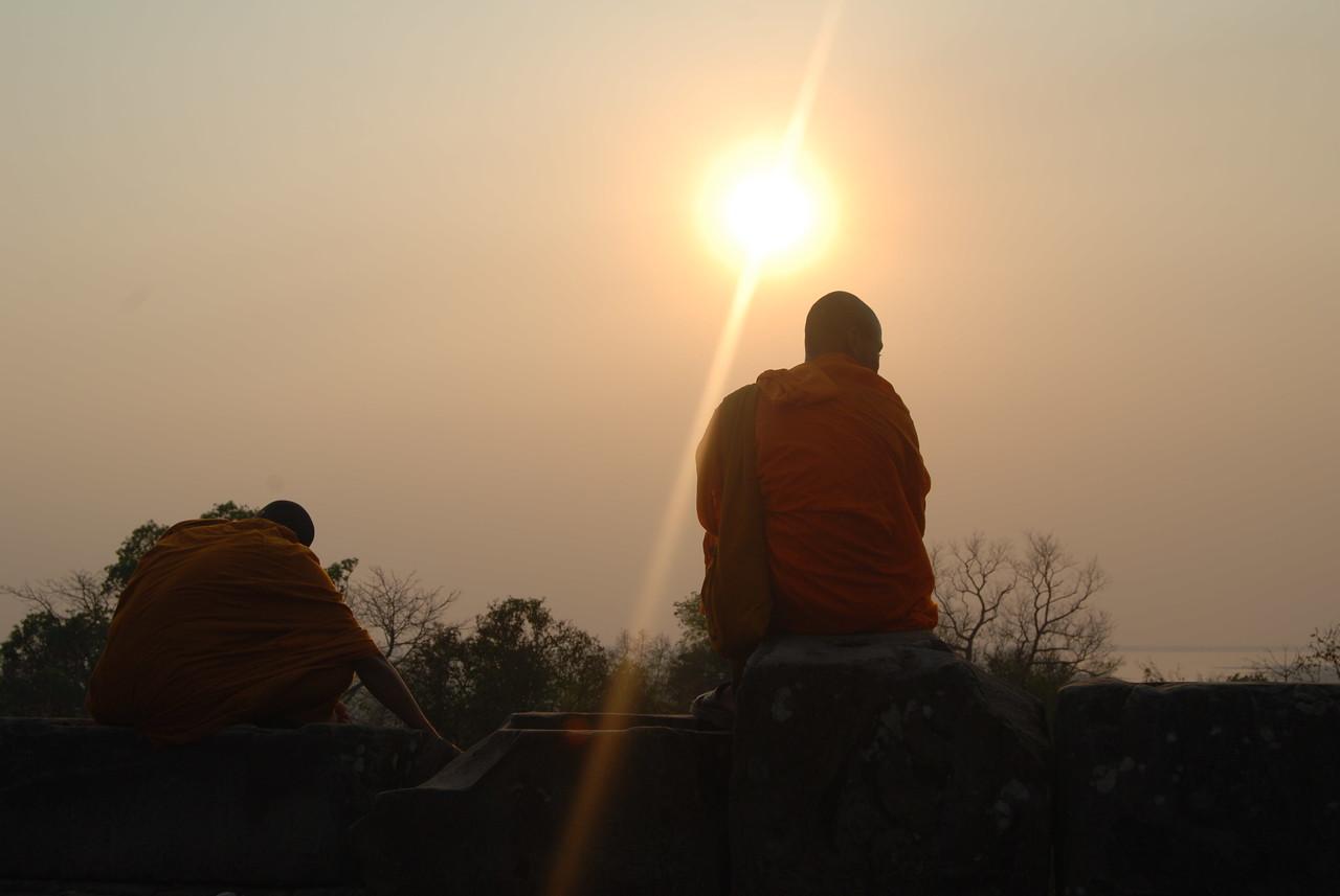 sunset near angkor wat temples