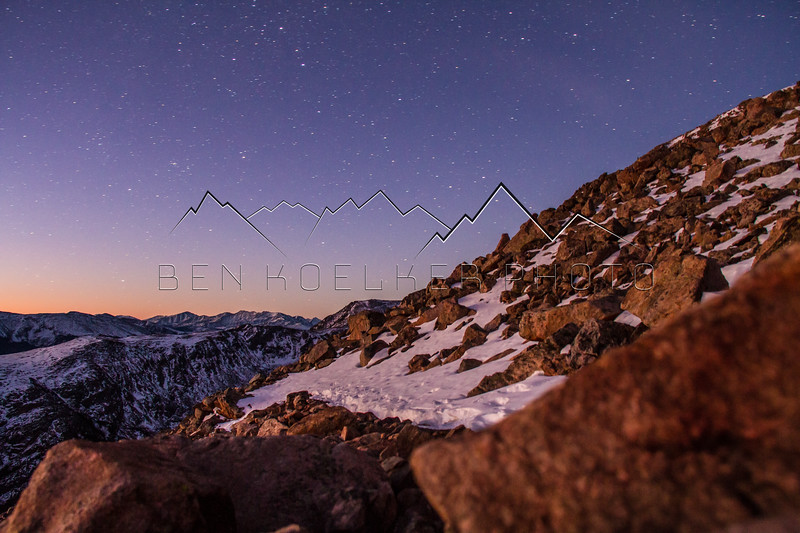 Alpenglow and Stars from the Flanks of Notch Mtn
