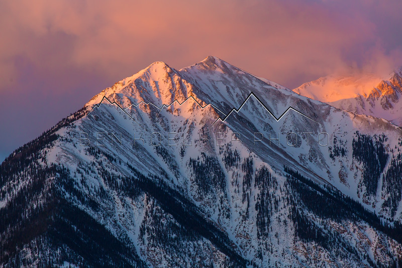 Sunrise alpenglow on Twin Peaks, CO