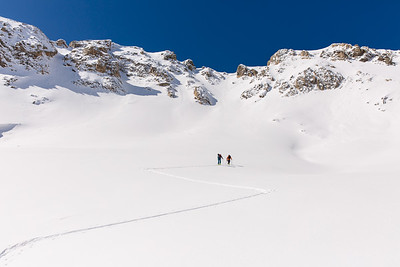 Taylor Bradley and Nate Dumais climbing in the Ten Mile Range, CO
