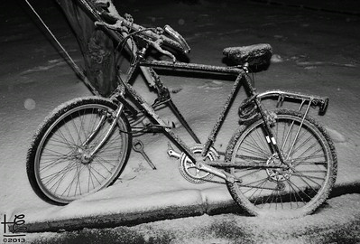 02-13-14 Snow-covered bike on Rumson Road
