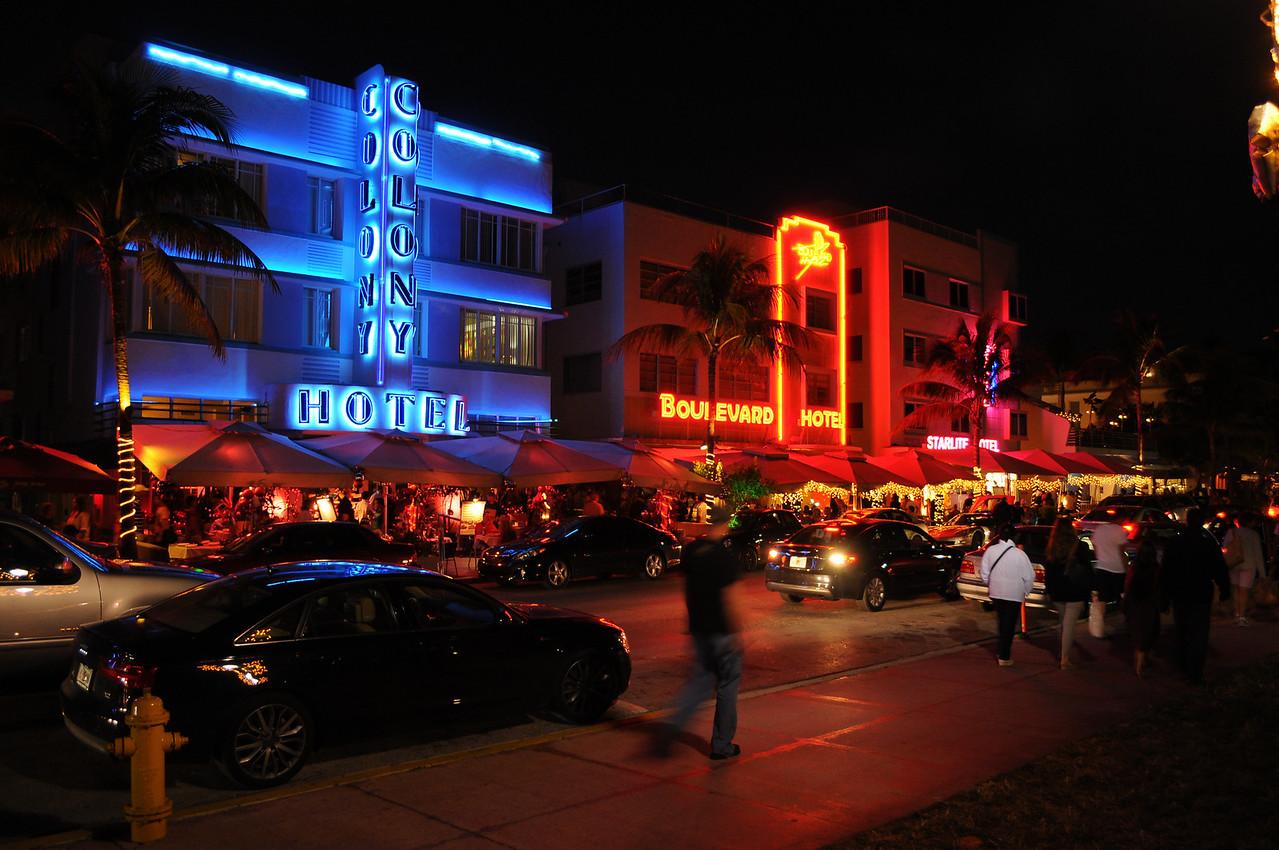 Night-time on Ocean Drive, Miami Beach, FL - December 2012