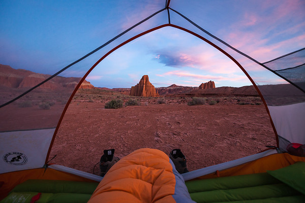 Dawn view of Temple of the Moon and Temple of the Sun at Capitol Reef NP, UT
