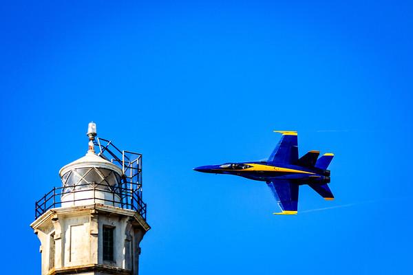 Blue Angel approaching Alcatraz Lighthouse Tower