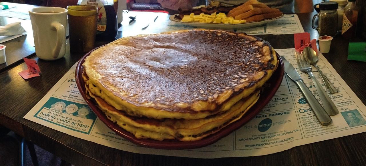 1/2 stack of Pancakes from Annie's Place, Port Austin - September 2013 (shot with iPhone)