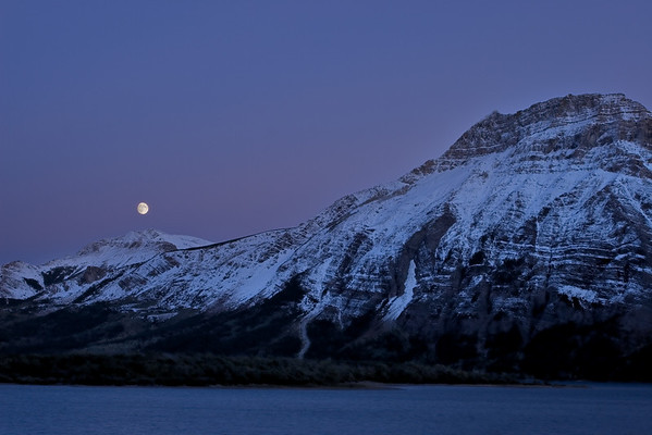 Day before the full moon at Waterton, Alberta Canada.
