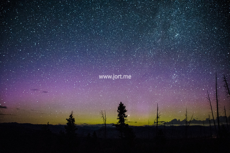 An Aurora display in Yellowstone