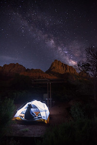 Milky Way over Watchman Campground, Zion NP, UT