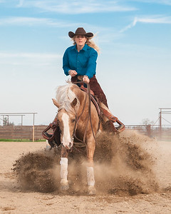 Jenny Sherbo of Acampo, Ca sliding in for the cover photo of the first issue of West Coast Horsewomen!