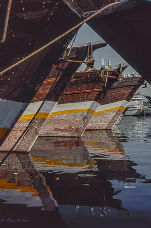 Dhows moored at Mina Port; Abu Dhabi
