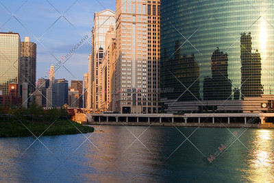 Chicago city view as seen from The Chicago River