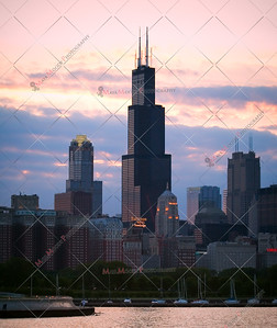 Chicago skyline as seen from the museum campus.