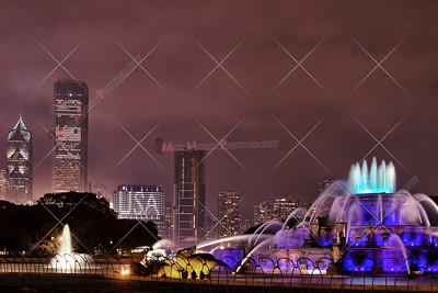 Nightshot view of The Chicago Skyline and Buckingham Fountain with 911 Tribute