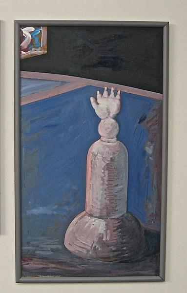 Arkaisk figur olie 48 x 83 cm
