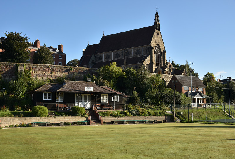 The Crescent Bowling Club and Catholic Cathedral, Shrewsbury.