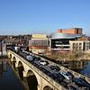The River Severn, theatre Severn and Welsh Bridge, Shrewsbury