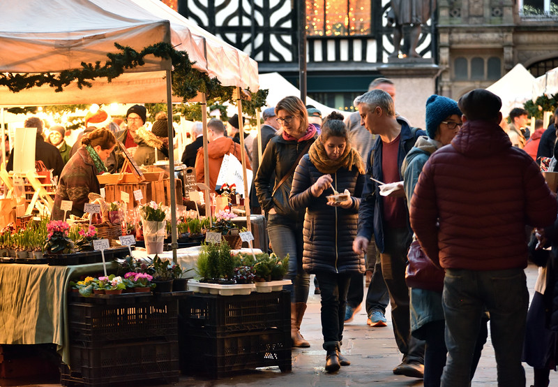 Xmas market in the square, Shrewsbury