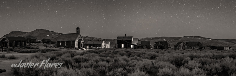 Bodie at night panoramic