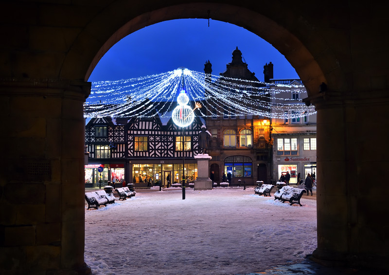 The Christmas lights in the Square, Shrewsbury town centre.